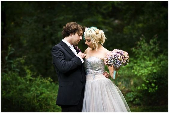 love this strapless sparkly pinkish and silvery wedding dress, and bouquet