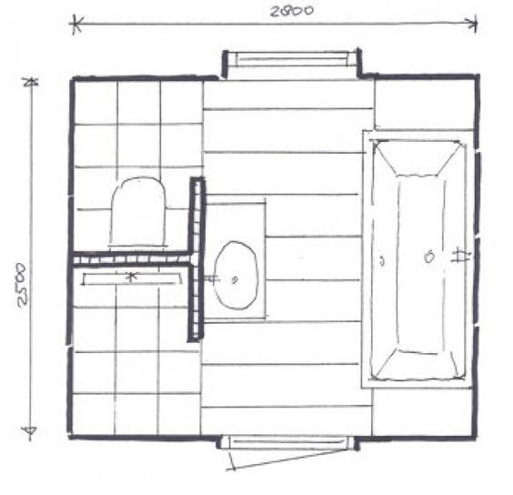 Kleine badkamer met afgescheiden toilet kelder pinterest toilets bathroom layout and towels - Lay outs badkamer ...