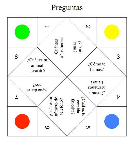 spanish games paper fortune teller and spanish on pinterest