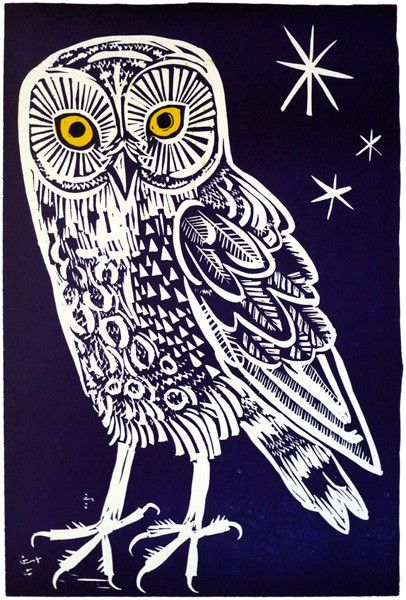 Owl  By Mark Hearld  Linocut – mounted, unframed.  Image size: 290mm x 195mm  Edition size: 95  This is an original limited edition print, signed by the artist.