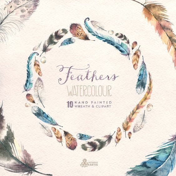 Feathers Watercolour Clipart & wreath. Hand painted watercolour, wedding diy elements, frame, invite, eggs, romantic, transparent feathers
