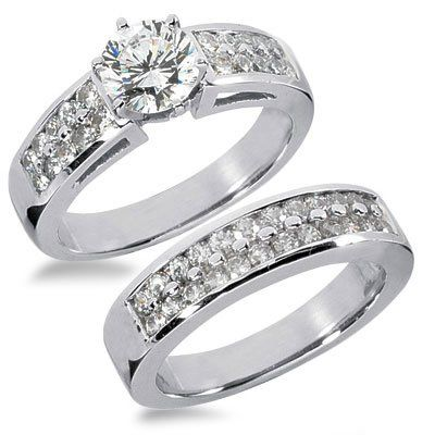 1.42 Carats Two Rows Diamond Engagement Ring Set | Your #1 Source for Jewelry and Accessories