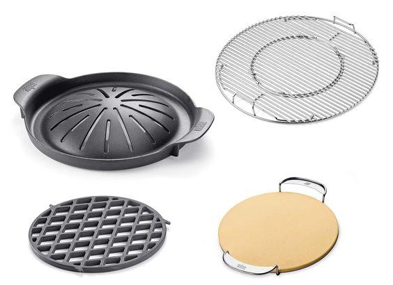 Accessoires de cuisson Gourmet : pierre à piza, korean, plancha, wok, grille cuisson et saisie. ©Weber distribué par Barbecue & Co (Villefranche)