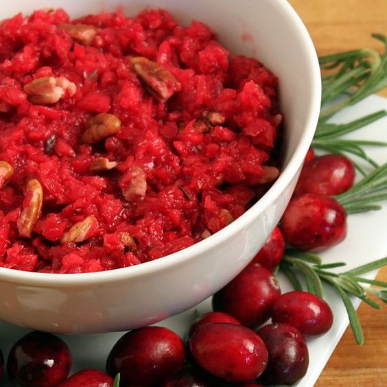 Cranberry Ginger Pear Relish - uses pears, fresh cranberries, citrus, nuts, ginger with honey to counter the bitter - use on turkey sandwiches, in turkey roll-ups or mix with turkey and lettuce as turkey salad with no mayo