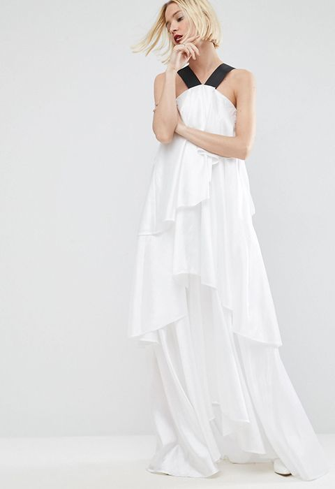 ASOS WHITE Layered Frill Maxi Dress With Strap Detail