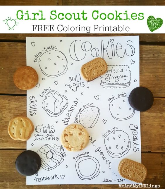 girl scout cookies doodle coloring printable printables free printables pinterest. Black Bedroom Furniture Sets. Home Design Ideas