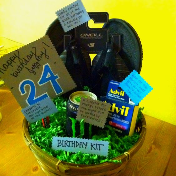 Cute birthday gift basket for a guy