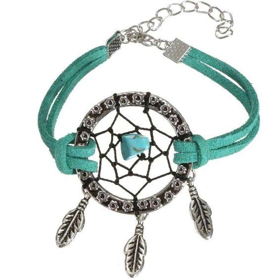 Black Green Dreamcatcher Web Bracelets ($3.47) ❤ liked on Polyvore featuring jewelry, bracelets, newchic, vintage jewelry, vintage bangle, leather jewelry, vintage green jewelry and leather bangle