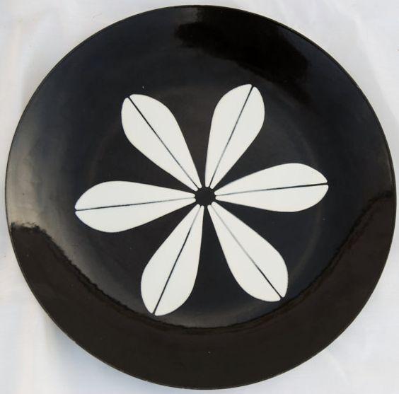 Cathrineholm Lotus enamel plate black and by GrandmaGingersCloset, $80.00