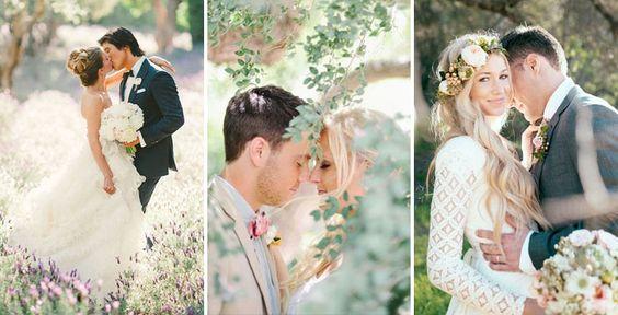 Съемка свадьбы весной на поляне