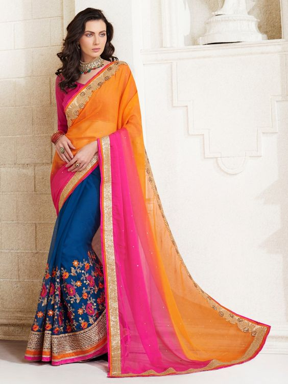Orange and Blue Georgette Saree with Embroidery Work