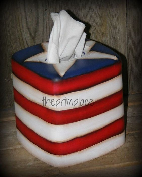 AmericanaTissue Box by theprimplace on Etsy