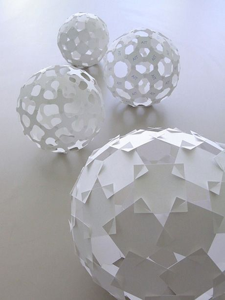 Square Unit Spheres made by paper engineer Yoshinobu Miyamoto: