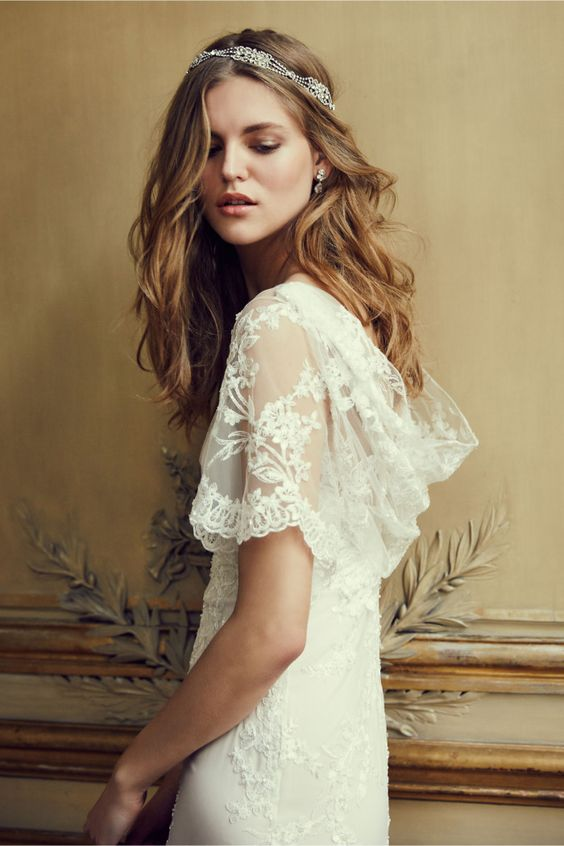 Lace flutter sleeve, cowl back wedding dress | 'Estella' gown from BHLDN - new Wedding Dress of the Day!