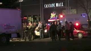Image copyright                  AP                  Image caption                                      Police sealed off the shopping centre and evacuated those inside                                Four women have been shot dead and a man critically injured at a shopping centre in Burlington, Washington state. Police have released a picture of the suspected gu