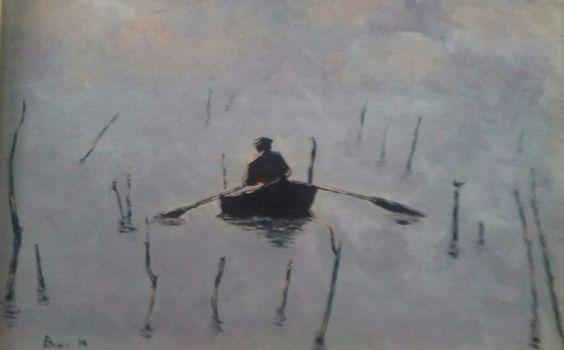 Dim. Cm 40x30 pescatore di ostriche