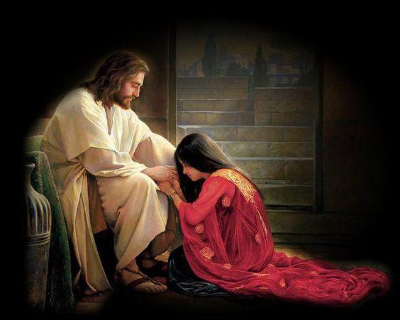 mujer a los pies de Jesus
