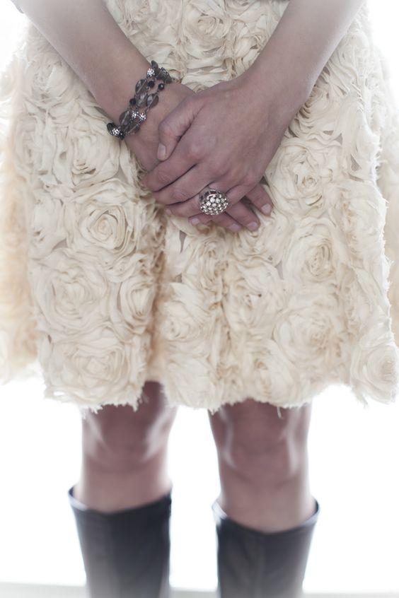 "Grace Adele ""Jewel"" ring in natural with ""Jewel"" bracelet in black"