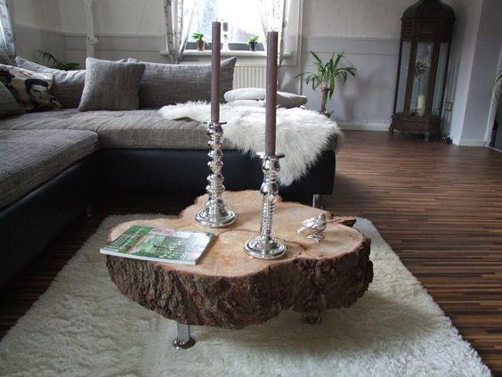 Design Couchtisch Beistelltisch Tisch Naturholz Baumscheibe mit Rinde Unikat in Möbel & Wohnen, Möbel, Tische | eBay