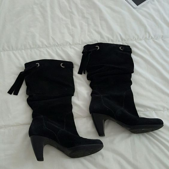 Black Suede Boots Up to calf. Cushion lined. Slightly worn on heels as shown. Connie Shoes