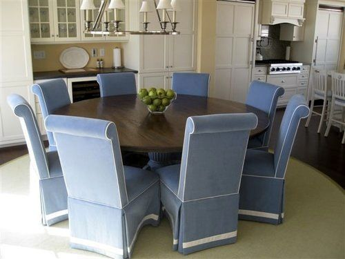 Large Round Table In Clients Coastal Home - ECustomFinishes