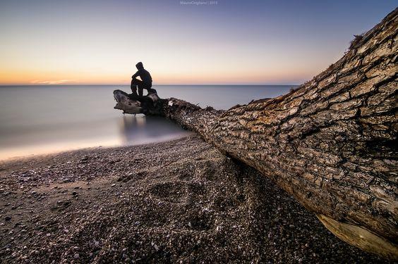 Watching sunset. - Follow me on Facebook page: https://www.facebook.com/maurociriglianofotografia _________ Una passeggiata sulla spiaggia , fino a trovare un tronco arenato sul bagnasciuga , venuto da chissà dove , ancora per metà disteso sul pelo dell'acqua . Seduto sulla sua estremità, un punto inaspettatamente emozionante, dal quale osservare il lento calar del sole, il lento andar via della luce, il lento e bellissimo spettacolo dei colori .: