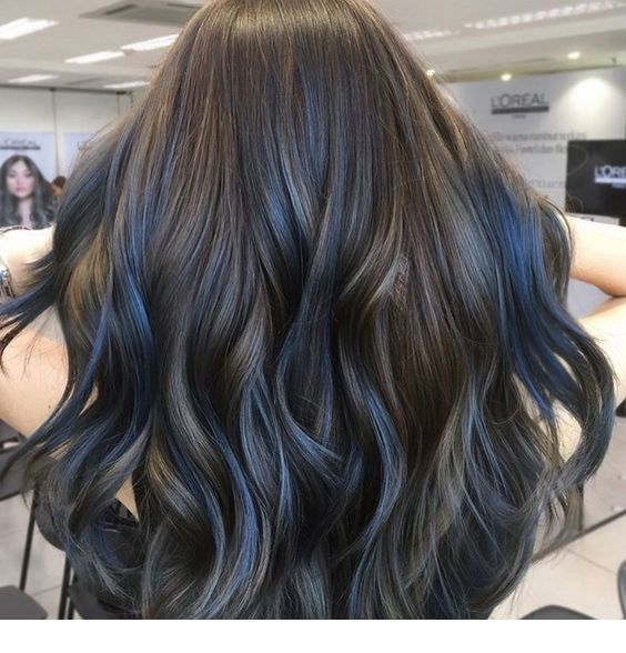 Chestnut Hair Blue Highlights Inspiring Ladies Hair Color For