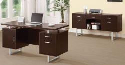 Glavan Home Office Set - Cappuccino/Silver