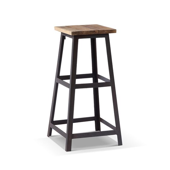tabouret de bar industriel carr en bois et m tal collection mobilier industriel pinterest. Black Bedroom Furniture Sets. Home Design Ideas