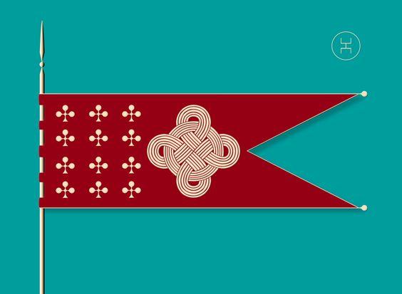 Old Circassian Flag 12 club symbols representing 12 of Circassia's provinces, with symbol of unity