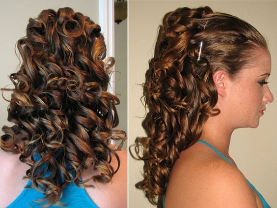 up in front curly in back prom hair