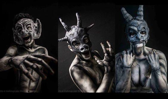 Maquiagem que fiz/ makeup by me!  #gargulas #ocorcundadenotredameomusical #thehunchbackofnotredame #make #bodypainting #disney #marciodesideri