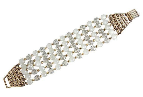 1950s Napier Faux-Moonstone Beaded Bracelet