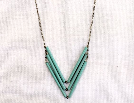 Blue Clouds Chevron Necklace by JanelleGramling on Etsy