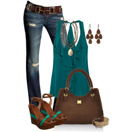 Teal is the name of the game here:) Love the rich jewel tone of the top.: Color Combos, Dream Closet, Cute Outfits, Spring Summer, Dreamcloset, Summer Outfits, Mystyle, Teal Brown, My Style