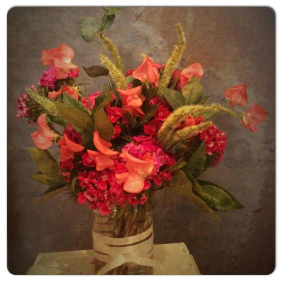 Sweetpeas and sweet Williams with faux greenery