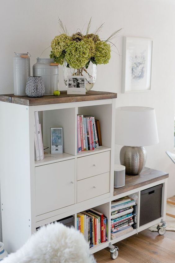 ideas para decorar salones con kallax ikea