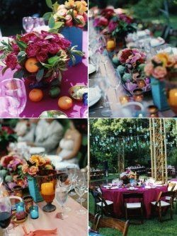 """If you love color and want to add a little """"spice"""" to your outdoor wedding try going with an outdoor Mexican Fiesta theme! This would be fun for..."""
