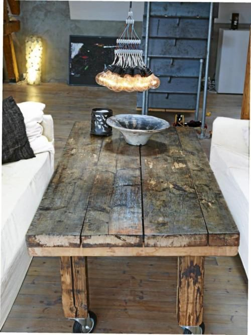worn coffee table...