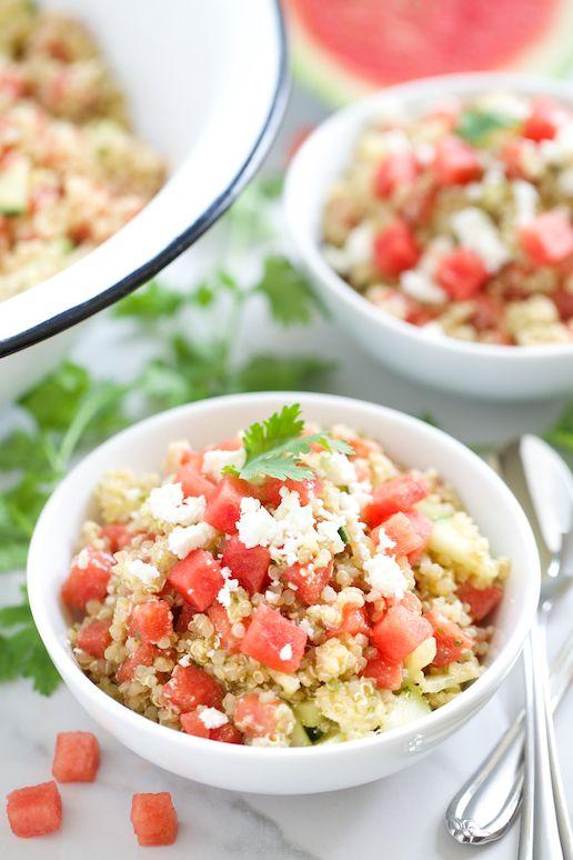 Watermelon Feta Quinoa Salad with Cilantro Lime Vinaigrette (avocado oil in the dressing) | GI 365