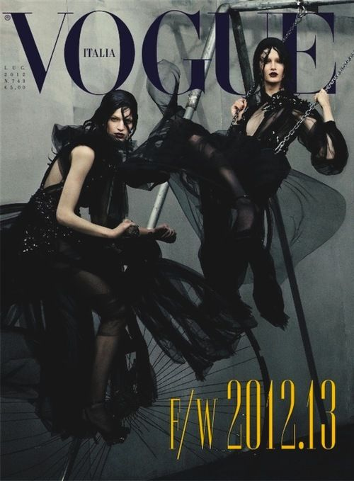 Vanessa Axente and Mackenzie Drazan in Vogue Italia July 2012 by Steven Meisel