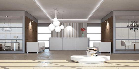 Reception in panels of melamine and White glazed top // --- // Reception con pannelli in melaminico e top in vetro Bianco