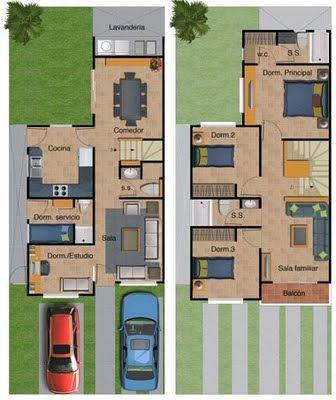 Plano de casa de dos pisos 132 metros cuadrados planos for Planos arquitectonicos de casas gratis