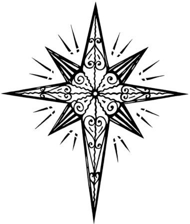 christmas star clip art black and white - photo #37