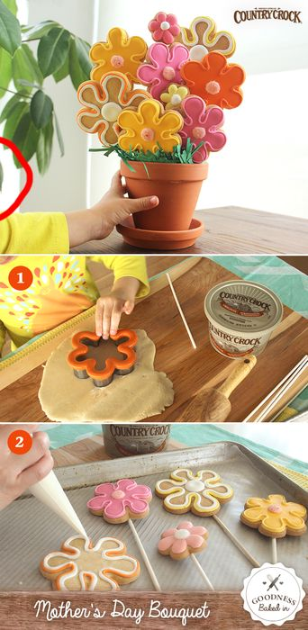 "Celebrate Spring with a bouquet of sugar cookies! Flatten out the dough and use cookie cutters to shape the flowers, place cookie dough onto the sticks and bake. It�s the perfect gift for Mother�s Day or �just because."":"
