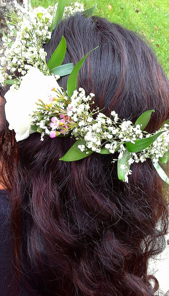 Simple Floral Crown Of Babies Breath Italian Ruscus Waxflower And Lisianthus Design By Davis Creations