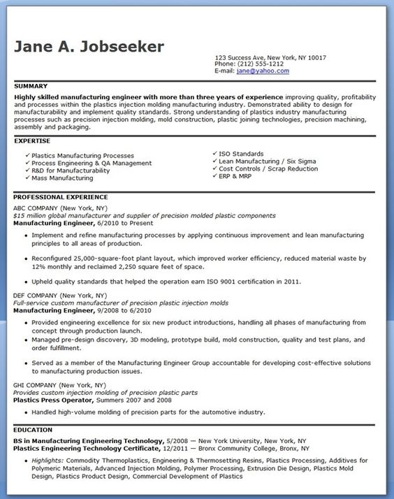 Manufacturing Engineer Resume Examples (Experienced) to do - manufacturing engineer resume