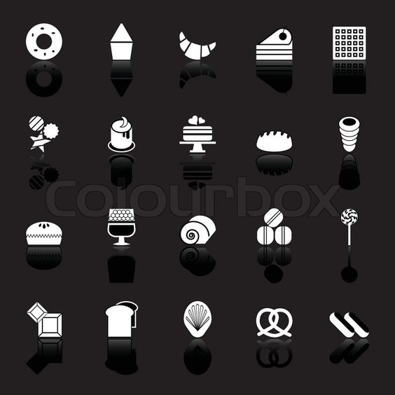 ... bakery icons with reflect on black background, stock vector, vector