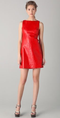 Alice + Olivia   Red Leather Shift Dress