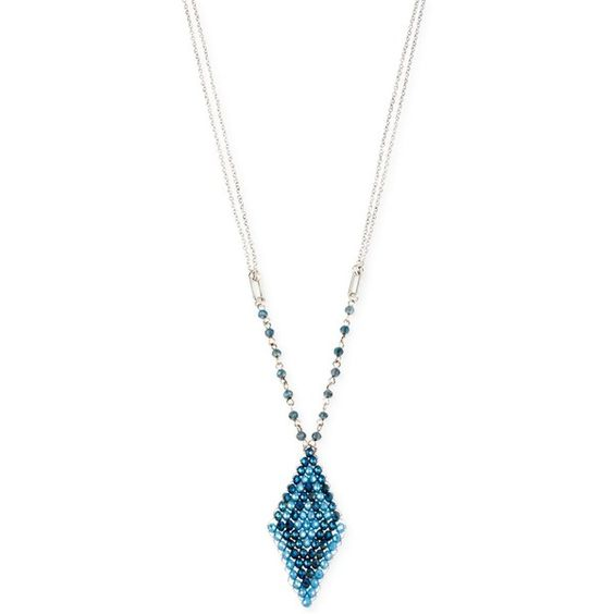 Kenneth Cole New York Beaded Pendant Necklace ($21) ❤ liked on Polyvore featuring jewelry, necklaces, blue multi, mixed metal necklace, pendant chain necklace, blue jewelry, blue bead necklace and blue pendant